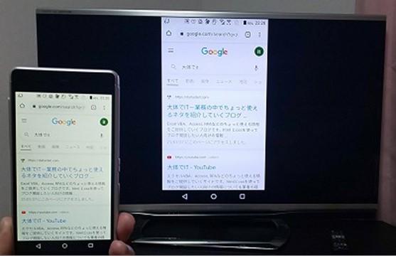 Android端末をクロームキャストにミラーリングした結果