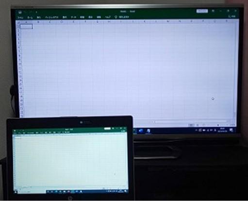 PCをクロームキャストにミラーリングしてエクセルを開いてみる