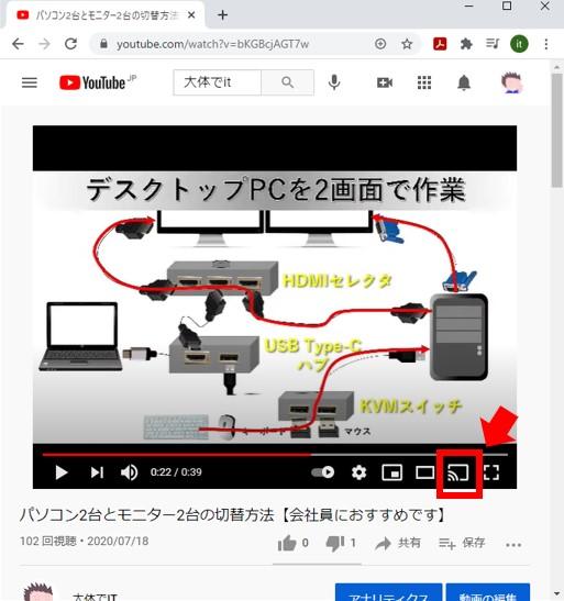 Youtubeの画面をキャストするマーク