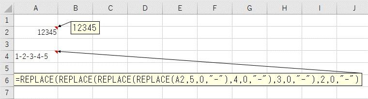 1つのセルでREPLACE関数を複数回使って1文字おきに区切り文字を追加した結果