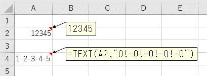 1文字おきに、TEXT関数で7桁の数値に区切り文字を追加した結果