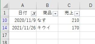 オートフィルタメニューで月を選択して11月を検索した結果