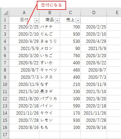 値のみを日付に貼り付けて文字列の日付を日付に変換した結果