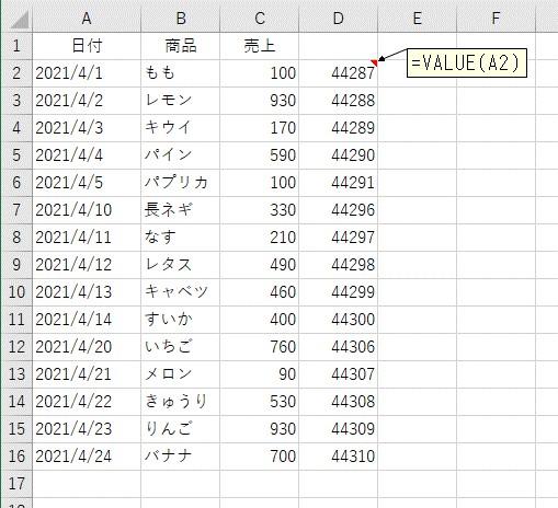 VALUE関数を使って文字列の日付を日付に変換した結果