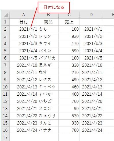 文字列を日付に変換した結果