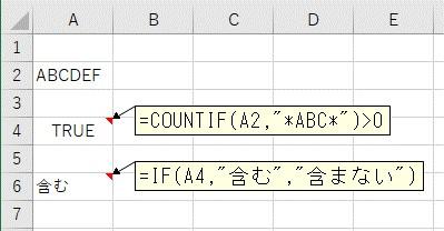 COUNTIF関数で部分一致で比較した結果をIF関数で条件分岐する
