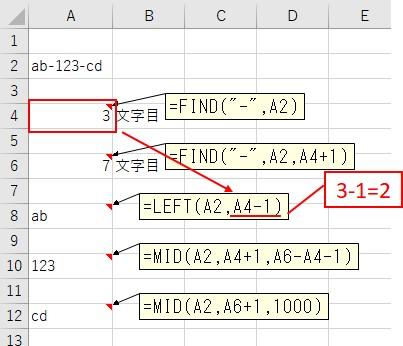1つ目の文字列をLEFT関数で抽出