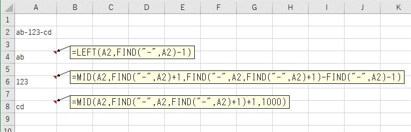 FIND、LEFT、MID関数をまとめて文字列を区切り文字で分割した結果