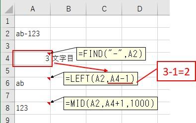 LEFT関数を使って1つ目の文字列を抽出