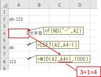 MID関数を使って2つ目の文字列を抽出