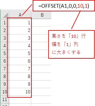 OFFSET関数の高さと幅を設定