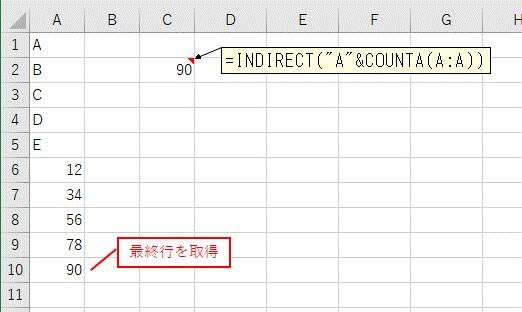 COUNTA関数とINDIRECT関数をまとめて入力した結果
