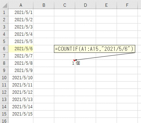 COUNTIF関数をセルに入力して指定した日付をカウントする