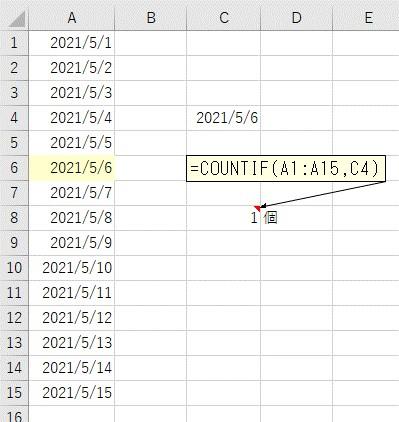 セルから検索条件の日付を取得してCOUNTIF関数を使って日付をカウントした結果