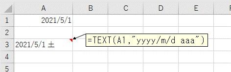yyyy/m/d aaa形式でセルに入力した結果