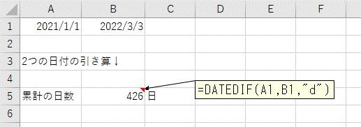 累計の日数で、2つの日付の差分を表示