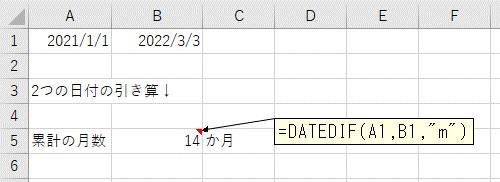 2つの日付を引き算して累積の月数を計算した結果