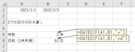 年数+1年未満の日数で、2つの日付の差分を表示
