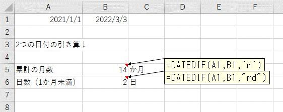 累計の月数+1年未満の日数で、2つの日付の差分を表示