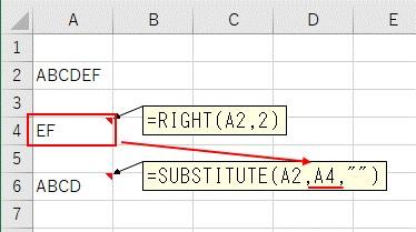 SUBSTITUTE関数を使ってRIGHT関数で取得した文字列を空欄