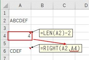 LEN関数とRIGHT関数を組み合わせて2文字を削除した結果