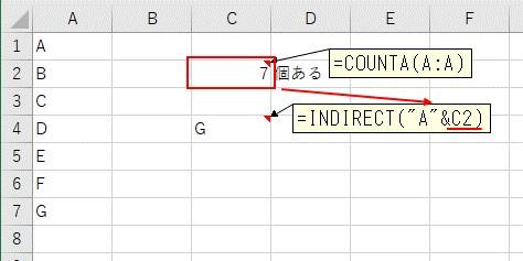 COUNTA関数で取得した行数をINDIRECT関数に入力