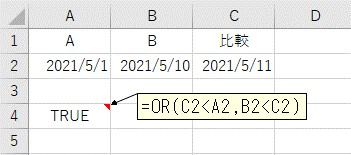 ORを使って日付を比較した結果