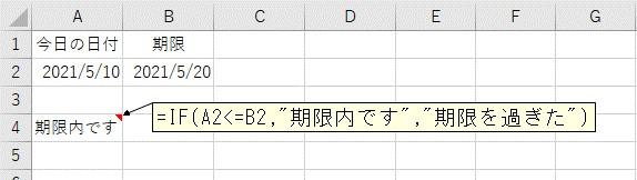 比較する日付が期限内かをIF関数を使って判定した結果