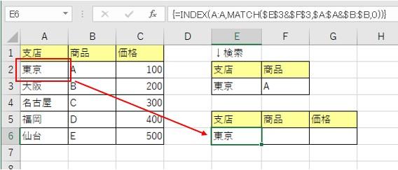 数式が完成して支店の値を取得した結果