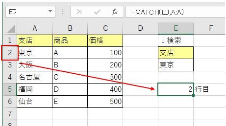 MATCH関数で検査値に一致した行番号を取得した結果