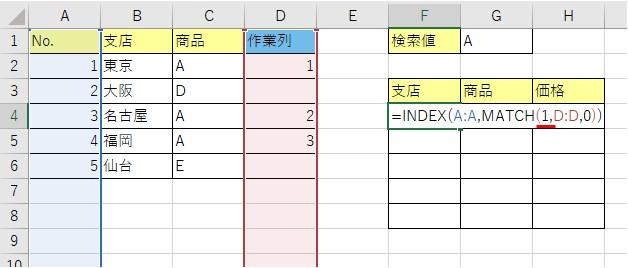 INDEX関数とMATCH関数を使って検索値を検索する