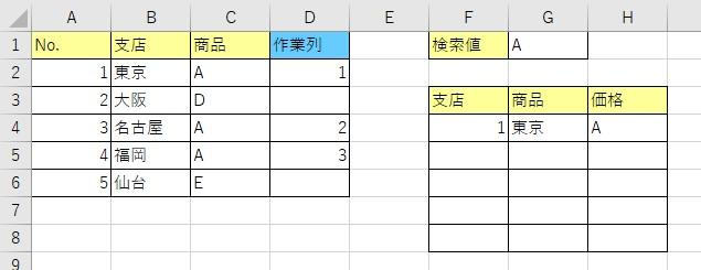 数式を右にコピーした結果