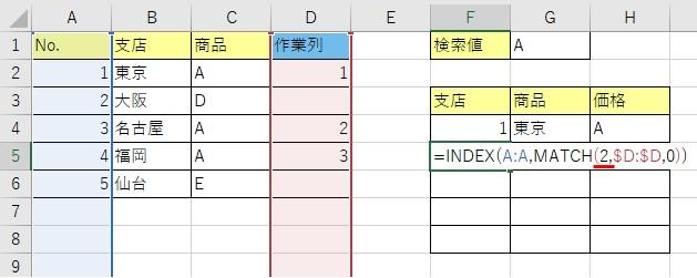 作業列が「2」である行の「A列」の値を検索