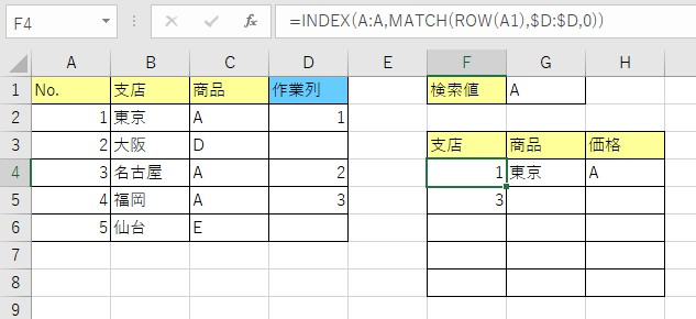 作業列をROW関数を使って自動で取得した結果