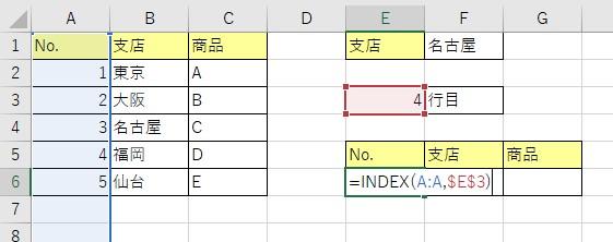 INDEX関数の入力が完成