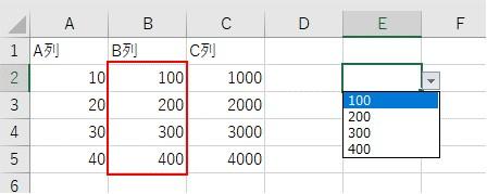INDIRECT関数でB列をリストに登録した結果