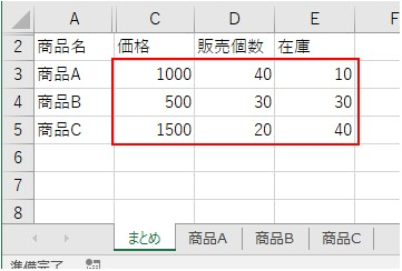 別シートの商品A~商品Cを参照した結果