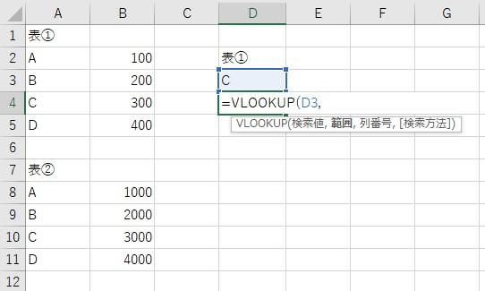 VLOOKUP関数で表①のAを検索する
