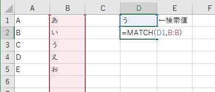 MATCH関数を使って、行を検索