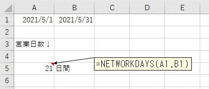NETWORKDAYS関数を使って、営業日をカウントする