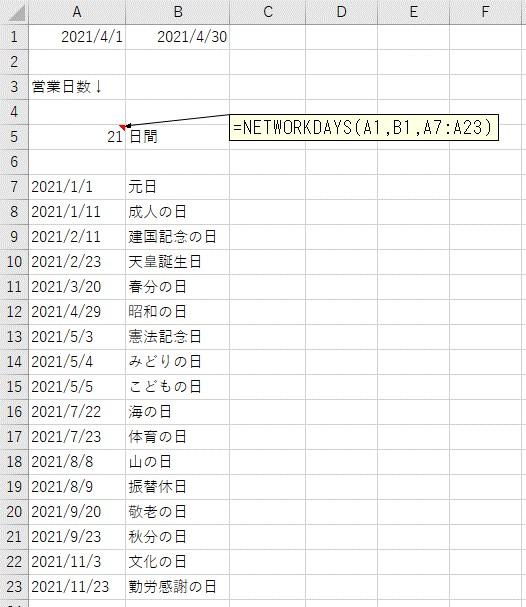 2021/4/1から2021/4/30の営業日数をカウント