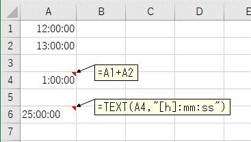 TEXT関数で表示形式を[h]:mm:ssにして24時間以上を表示する