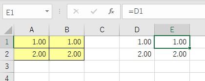 「数式と数値の書式」で貼り付けた結果