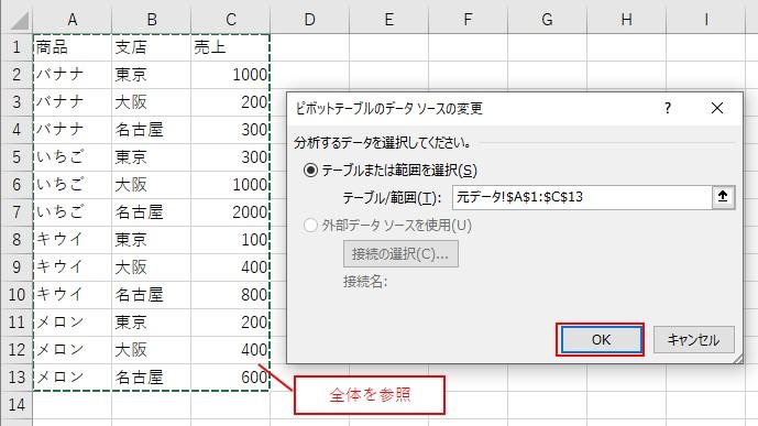 追加したデータを含めて全体の範囲を参照する