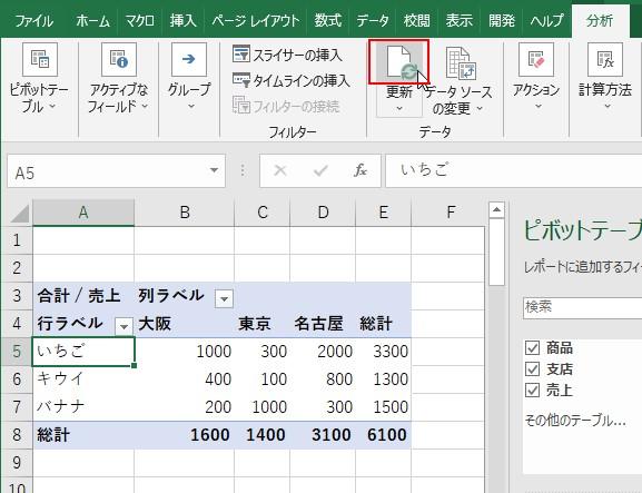 ピボットテーブルを選択して分析タブ→更新ボタンをクリックする
