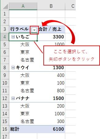 ピボットテーブルの1つ目の行ラベルを選択して行ラベルの矢印ボタンをクリック