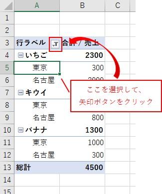 ピボットテーブルの2つ目の行ラベルを選択して行ラベルの矢印ボタンをクリック