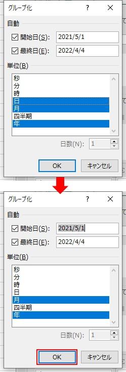 グループ化の設定画面で年、月を選択してOKをクリックする