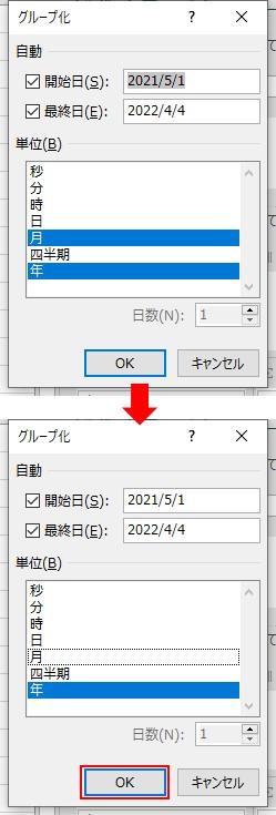 グループ化の設定画面で年を選択してOKをクリックする