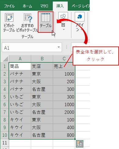 表全体を選択して挿入タブ→テーブルをクリックする